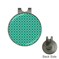 Emerald Green Quatrefoil Pattern Golf Ball Marker Hat Clip by Zandiepants