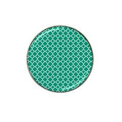 Emerald Green Quatrefoil Pattern Hat Clip Ball Marker (4 Pack) by Zandiepants
