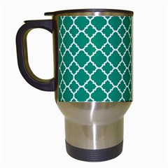 Emerald Green Quatrefoil Pattern Travel Mug (white) by Zandiepants