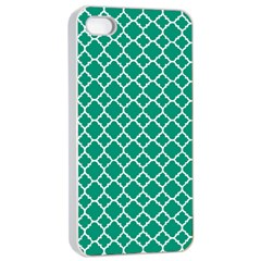 Emerald Green Quatrefoil Pattern Apple Iphone 4/4s Seamless Case (white) by Zandiepants