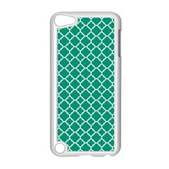 Emerald green quatrefoil pattern Apple iPod Touch 5 Case (White) by Zandiepants