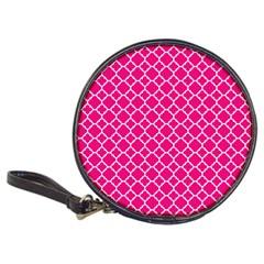 Hot Pink Quatrefoil Pattern Classic 20 Cd Wallet by Zandiepants