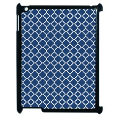 Navy Blue Quatrefoil Pattern Apple Ipad 2 Case (black) by Zandiepants