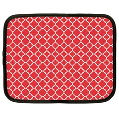 Poppy red quatrefoil pattern Netbook Case (Large) by Zandiepants