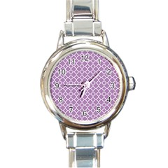 Lilac Purple Quatrefoil Pattern Round Italian Charm Watch by Zandiepants