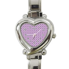 Lilac Purple Quatrefoil Pattern Heart Italian Charm Watch by Zandiepants