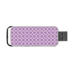 Lilac Purple Quatrefoil Pattern Portable Usb Flash (two Sides) by Zandiepants