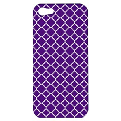 Royal Purple Quatrefoil Pattern Apple Iphone 5 Hardshell Case by Zandiepants