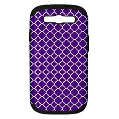Royal Purple Quatrefoil Pattern Samsung Galaxy S Iii Hardshell Case (pc+silicone) by Zandiepants