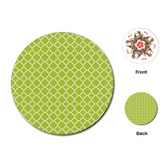 Spring Green Quatrefoil Pattern Playing Cards (round) by Zandiepants
