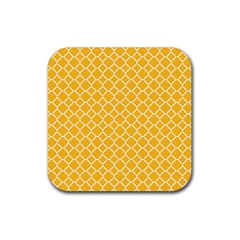 Sunny yellow quatrefoil pattern Rubber Coaster (Square) by Zandiepants