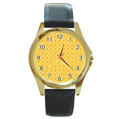 Sunny yellow quatrefoil pattern Round Gold Metal Watch by Zandiepants