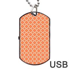 Tangerine orange quatrefoil pattern Dog Tag USB Flash (Two Sides) by Zandiepants