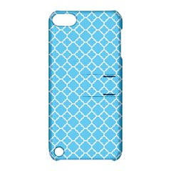 Bright Blue Quatrefoil Pattern Apple Ipod Touch 5 Hardshell Case With Stand by Zandiepants