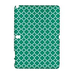 Emerald Green Quatrefoil Pattern Samsung Galaxy Note 10 1 (p600) Hardshell Case by Zandiepants