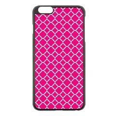 Hot Pink Quatrefoil Pattern Apple Iphone 6 Plus/6s Plus Black Enamel Case by Zandiepants