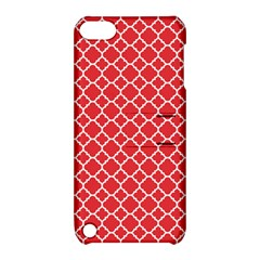 Poppy red quatrefoil pattern Apple iPod Touch 5 Hardshell Case with Stand by Zandiepants