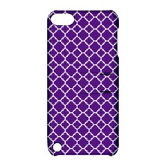 Royal Purple Quatrefoil Pattern Apple Ipod Touch 5 Hardshell Case With Stand by Zandiepants