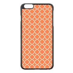 Tangerine Orange Quatrefoil Pattern Apple Iphone 6 Plus/6s Plus Black Enamel Case by Zandiepants