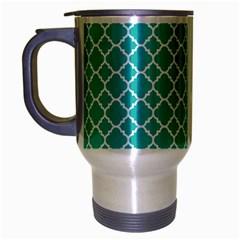 Turquoise Quatrefoil Pattern Travel Mug (silver Gray) by Zandiepants