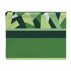 Abstract Jungle Green Brown Geometric Art Cosmetic Bag (xl) by CircusValleyMall