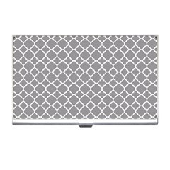 Grey Quatrefoil Pattern Business Card Holder by Zandiepants