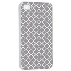 Grey Quatrefoil Pattern Apple Iphone 4/4s Seamless Case (white) by Zandiepants