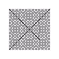 Grey Quatrefoil Pattern Acrylic Tangram Puzzle (4  X 4 ) by Zandiepants
