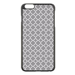 Grey Quatrefoil Pattern Apple Iphone 6 Plus/6s Plus Black Enamel Case by Zandiepants