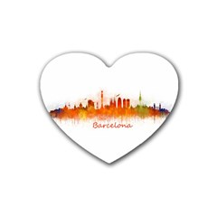 Barcelona City Art Heart Coaster (4 Pack)  by hqphoto
