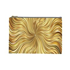 Chic Festive Elegant Gold Stripes Cosmetic Bag (large)  by yoursparklingshop