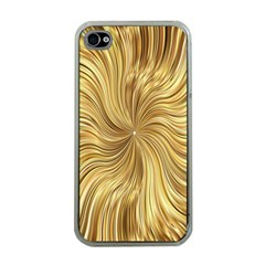 Chic Festive Elegant Gold Stripes Apple Iphone 4 Case (clear) by yoursparklingshop