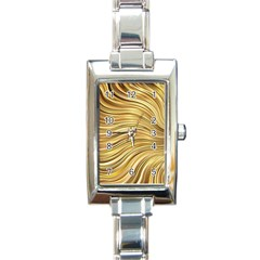 Chic Festive Gold Brown Glitter Stripes Rectangle Italian Charm Watch by yoursparklingshop