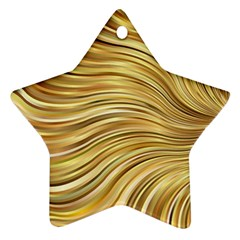 Chic Festive Gold Brown Glitter Stripes Ornament (star)  by yoursparklingshop