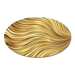 Chic Festive Gold Brown Glitter Stripes Oval Magnet by yoursparklingshop