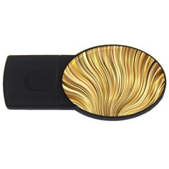 Gold Stripes Festive Flowing Flame  Usb Flash Drive Oval (4 Gb)  by yoursparklingshop