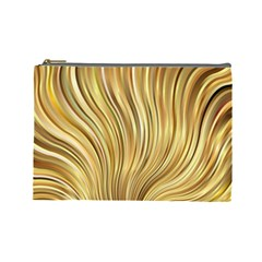 Gold Stripes Festive Flowing Flame  Cosmetic Bag (large)  by yoursparklingshop