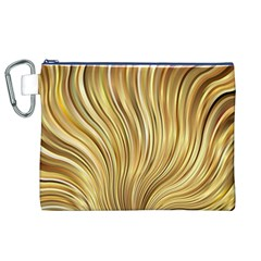 Gold Stripes Festive Flowing Flame  Canvas Cosmetic Bag (xl)  by yoursparklingshop