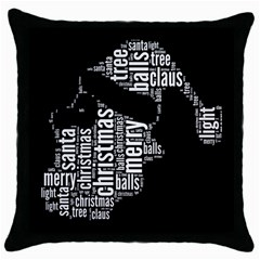 Funny Santa Black And White Typography Throw Pillow Case (black) by yoursparklingshop