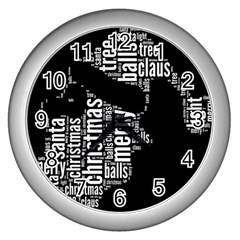Funny Santa Black And White Typography Wall Clocks (silver)  by yoursparklingshop