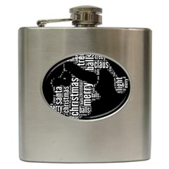 Funny Santa Black And White Typography Hip Flask (6 Oz) by yoursparklingshop