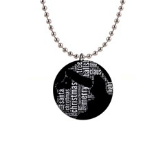 Funny Santa Black And White Typography Button Necklaces by yoursparklingshop