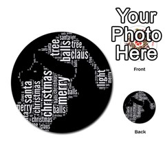 Funny Santa Black And White Typography Multi Purpose Cards (round)  by yoursparklingshop