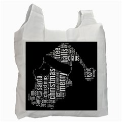 Funny Santa Black And White Typography Recycle Bag (two Side)  by yoursparklingshop