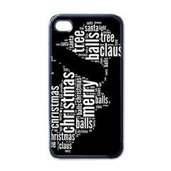 Funny Santa Black And White Typography Apple Iphone 4 Case (black) by yoursparklingshop