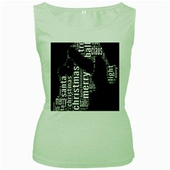 Funny Merry Christmas Santa, Typography, Black and White Women s Green Tank Top by yoursparklingshop