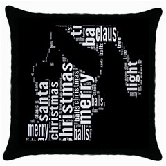 Funny Merry Christmas Santa, Typography, Black And White Throw Pillow Case (black) by yoursparklingshop