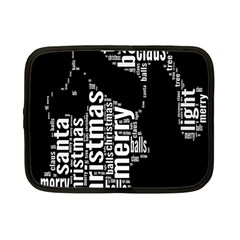Funny Merry Christmas Santa, Typography, Black And White Netbook Case (small)  by yoursparklingshop