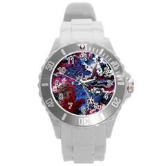 Amazing Fractal 28 Round Plastic Sport Watch (l) by Fractalworld