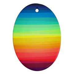Sweet Colored Stripes Background Ornament (oval)  by TastefulDesigns
